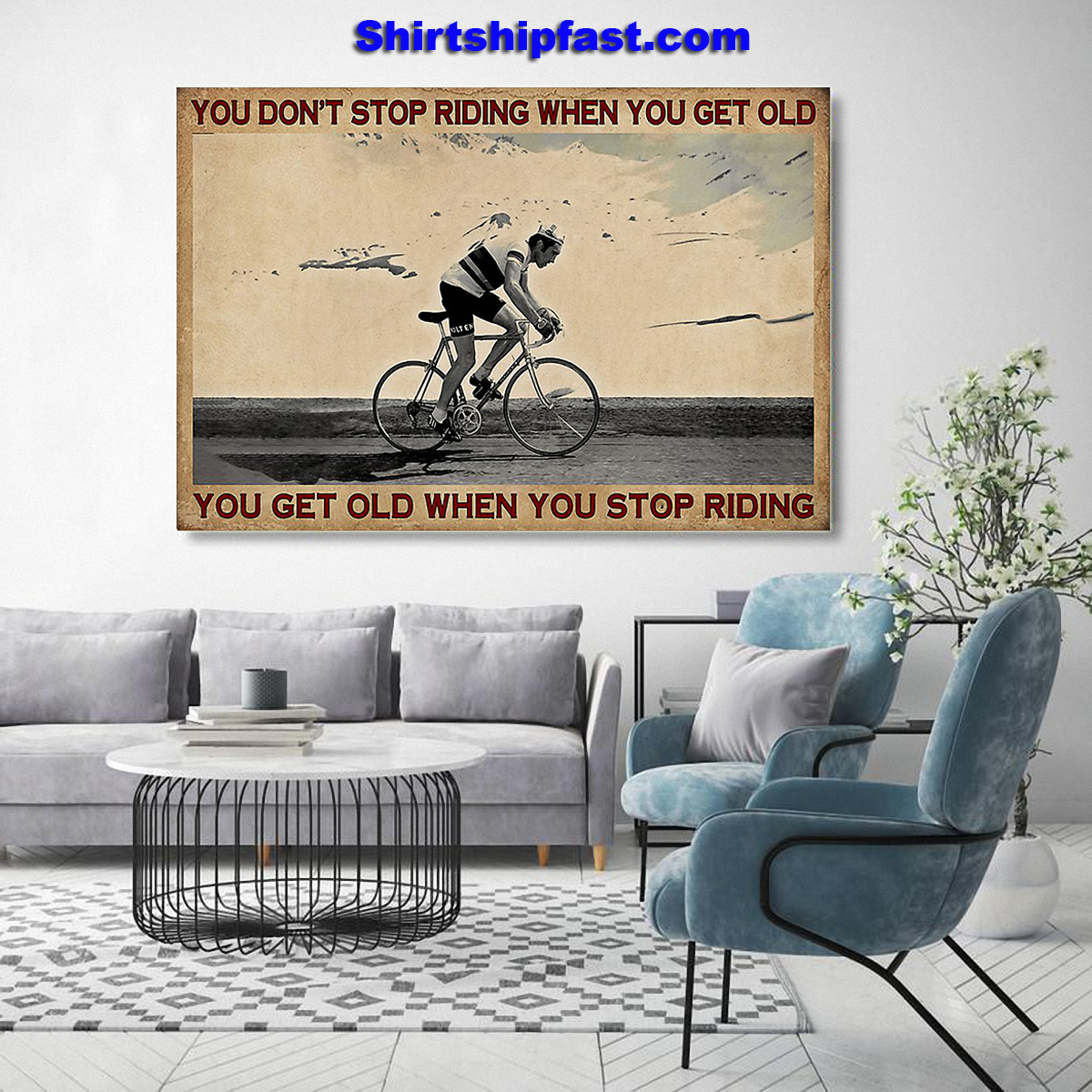 Cycling you don't stop riding when you get old canvas