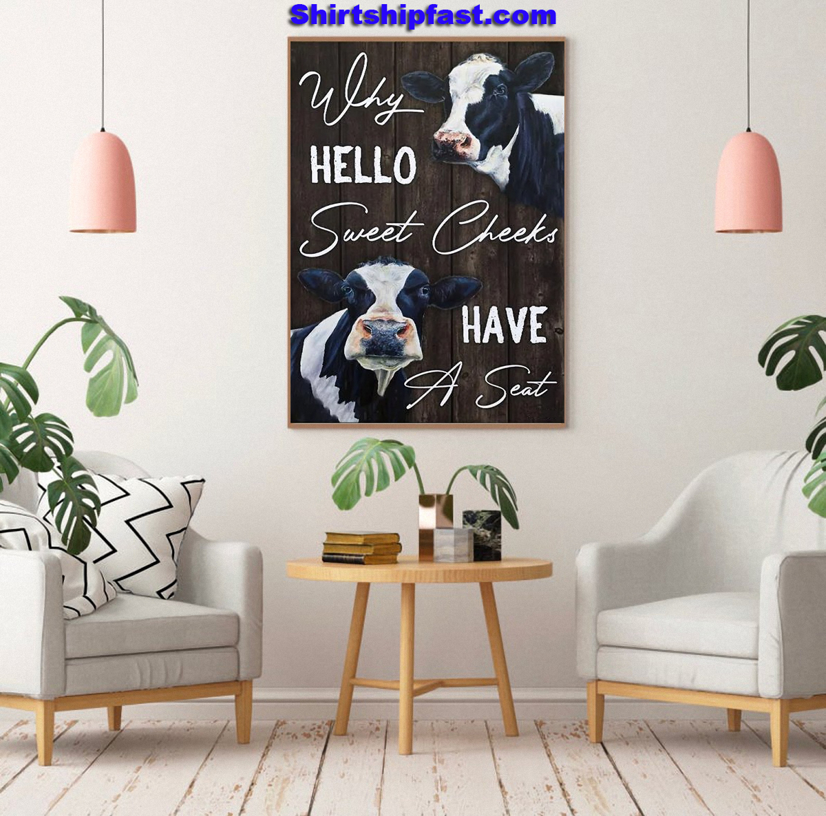 Dairy cattle why hello sweet cheeks have a seat canvas - Picture 3