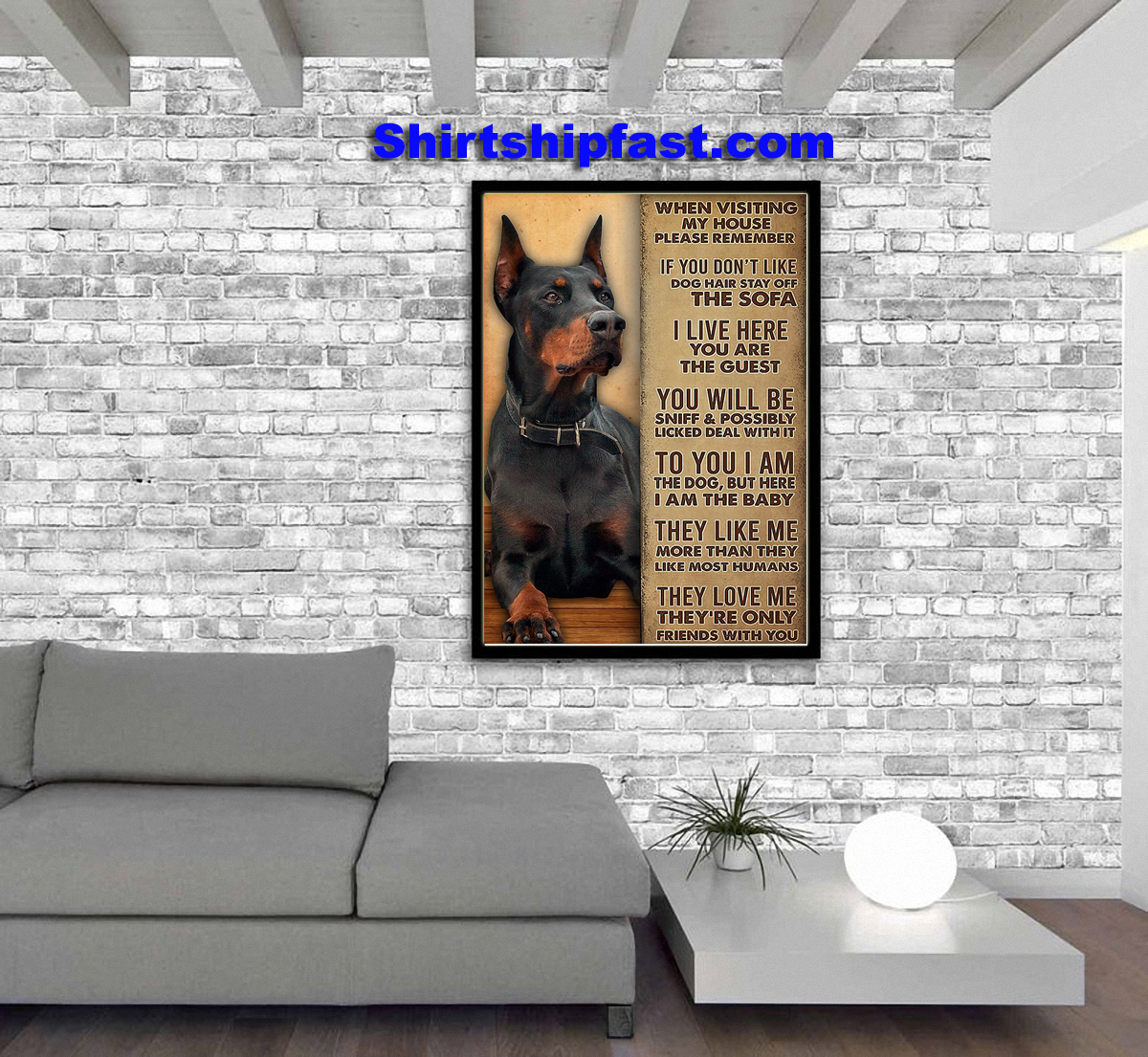 Dobermann when visiting my house please remember poster - Picture 2
