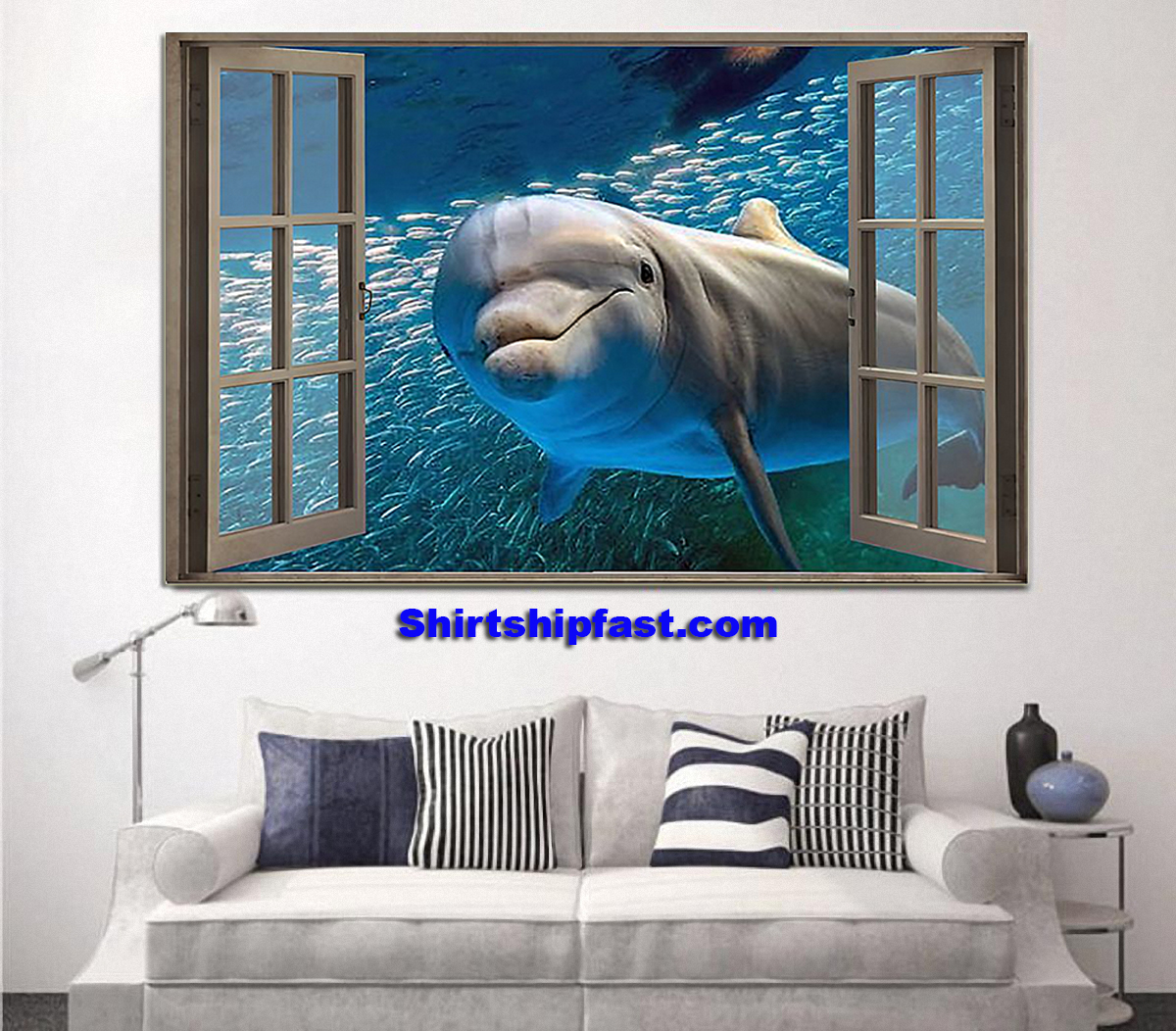 Dolphin window view poster