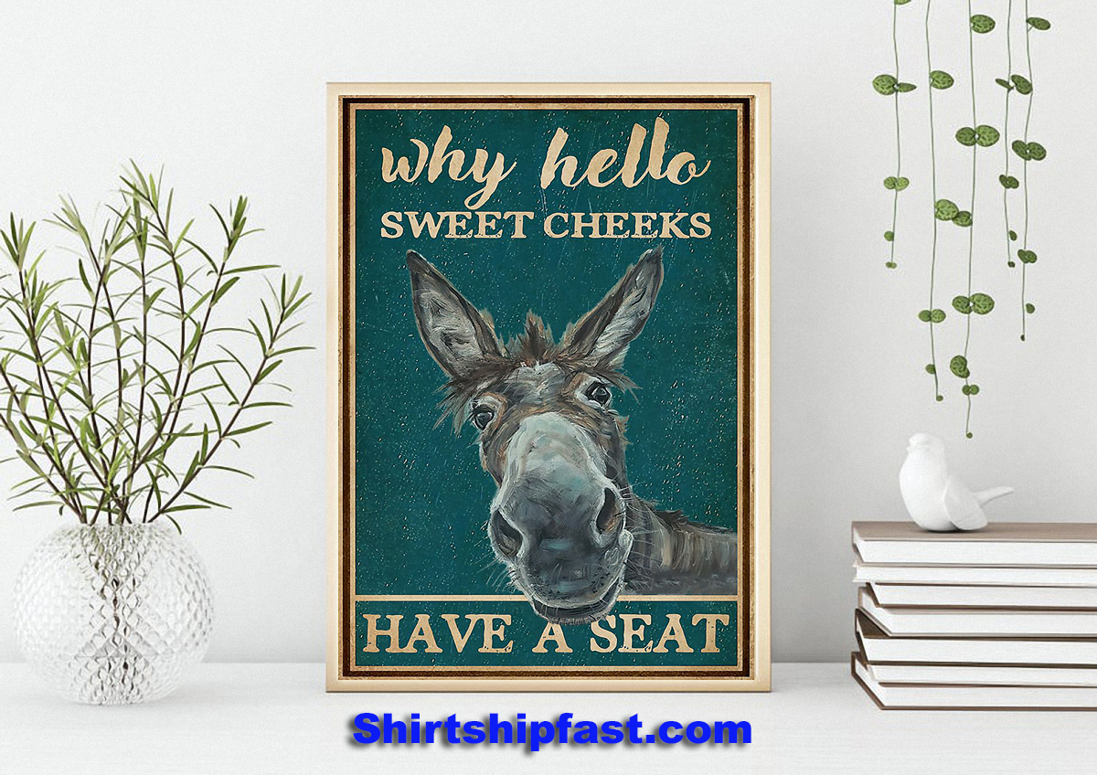 Donkey why hello sweet cheeks have a seat poster - Picture 1