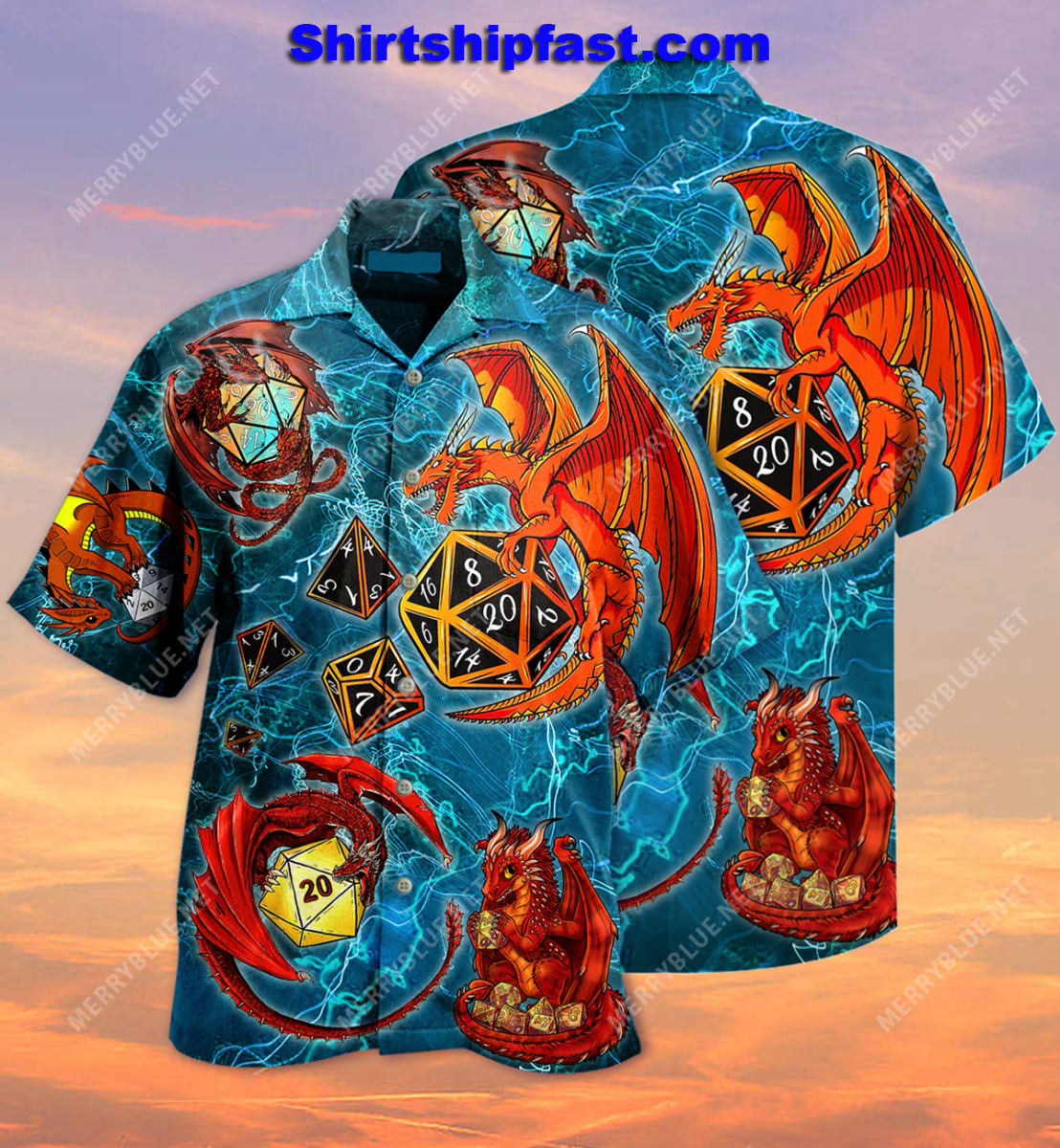 Dragon playing dice hawaiian shirt and short sleeve shirt - Picture 1