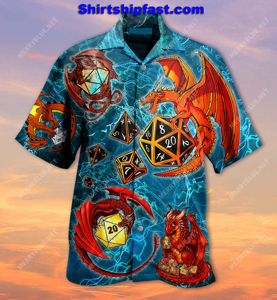 Dragon playing dice hawaiian shirt and short sleeve shirt - Picture 2