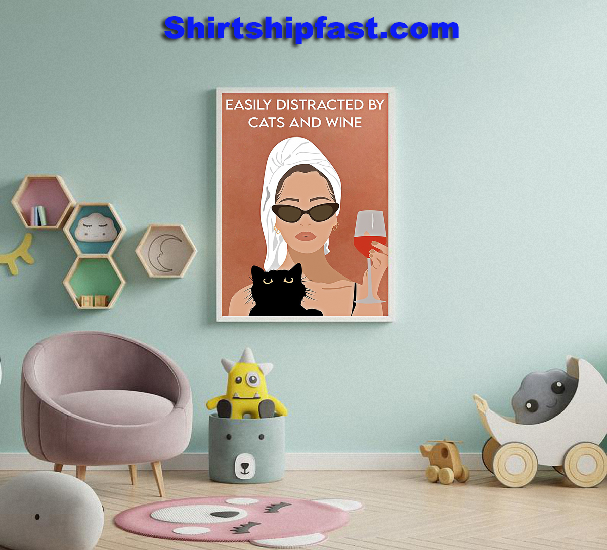 Easily distracted by cats and wine poster - Picture 3