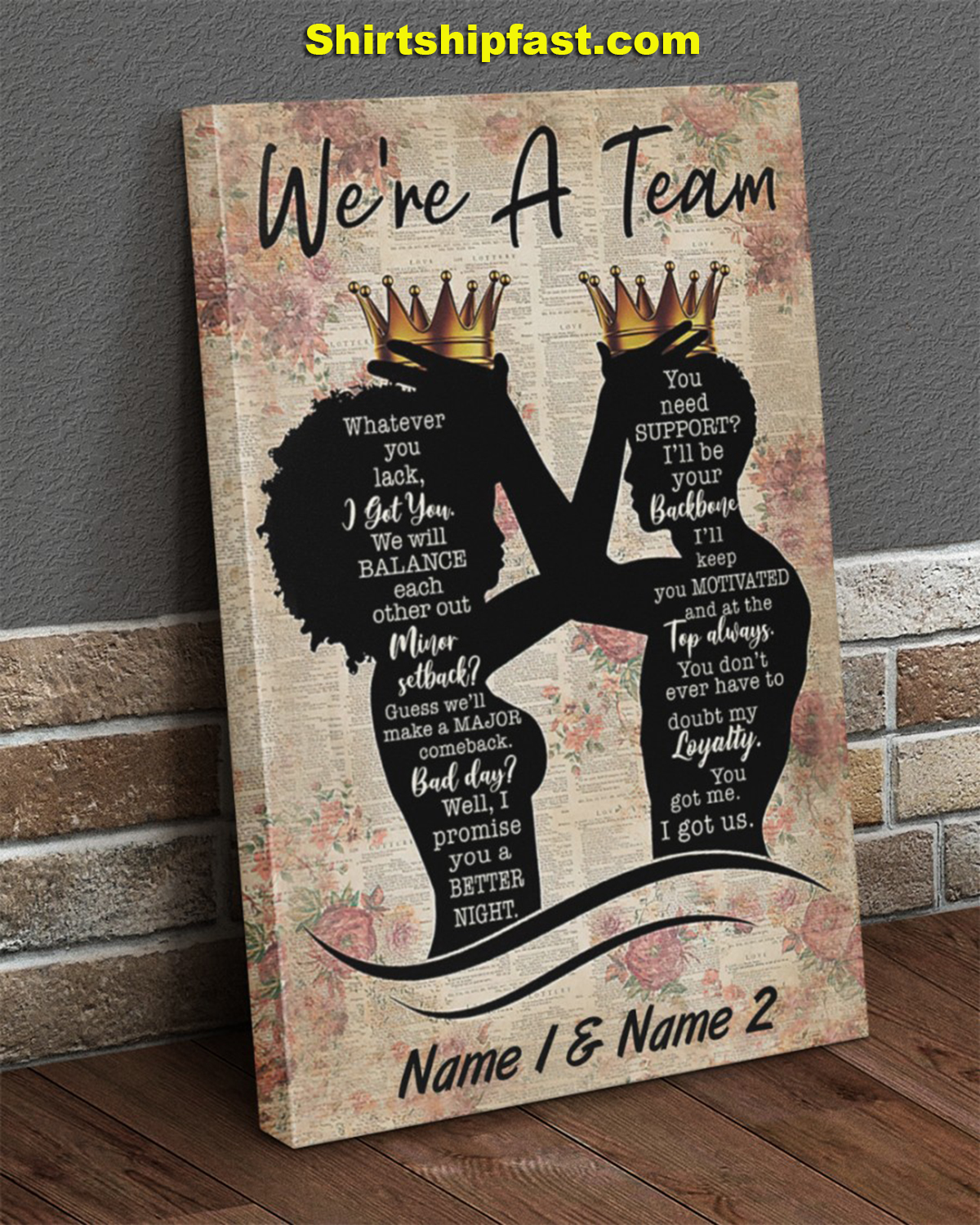 Family we're a team personalized canvas prints - Picture 1