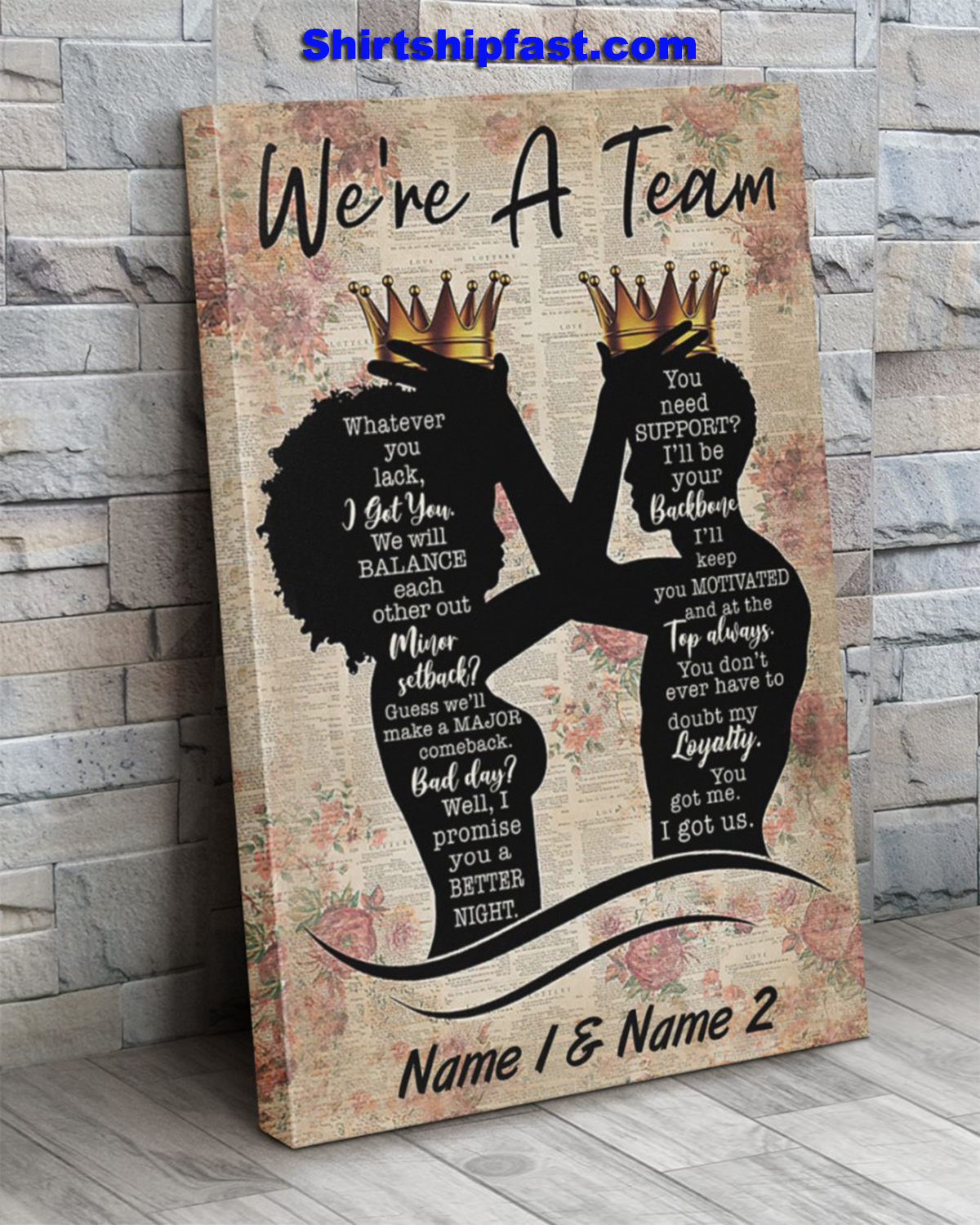 Family we're a team personalized canvas prints - Picture 3
