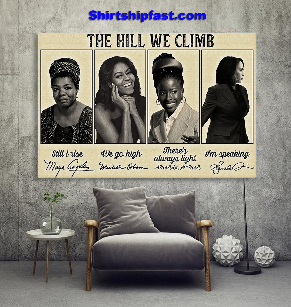 Feminists famous signature The hill we climb poster - Picture 1