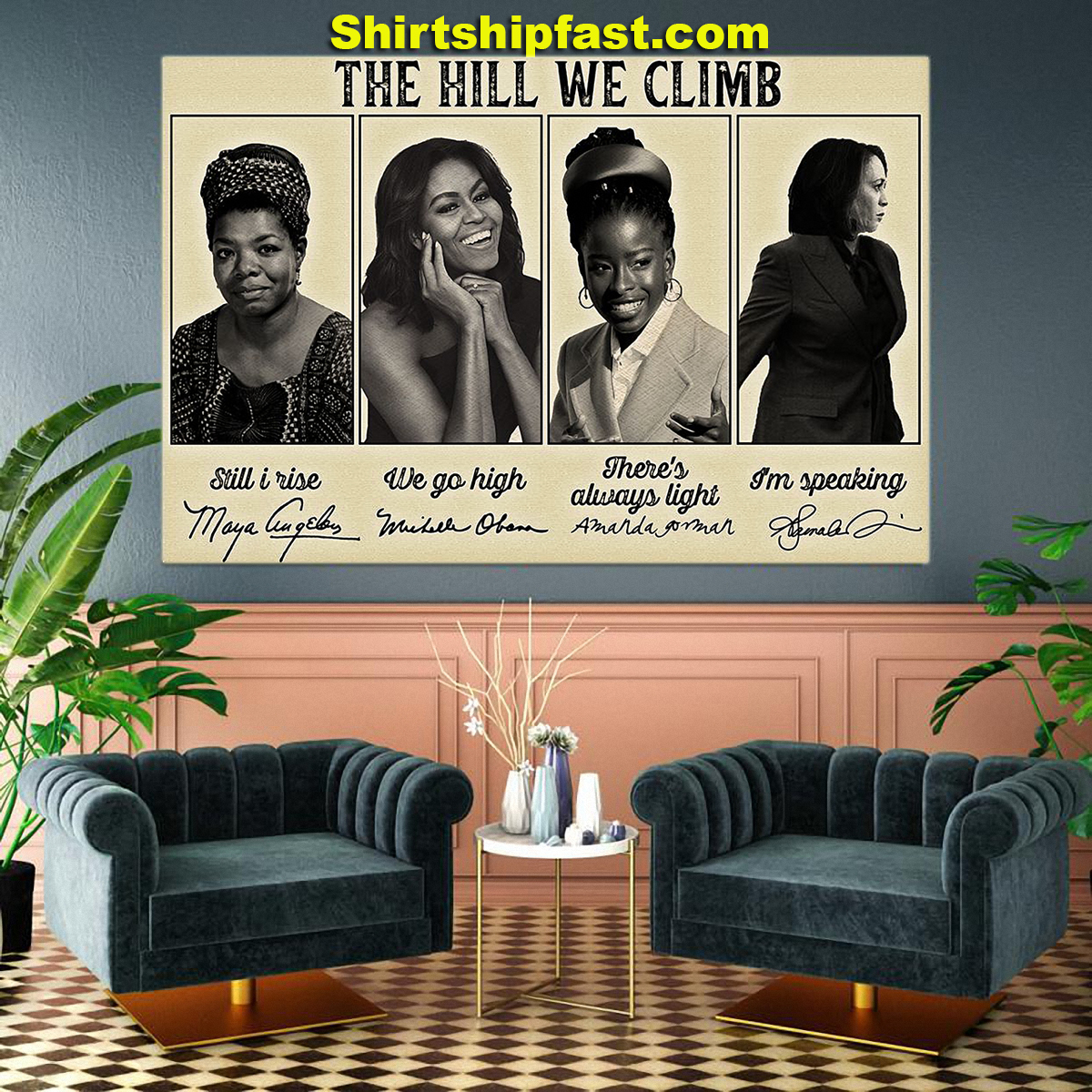 Feminists famous signature The hill we climb poster - Picture 2