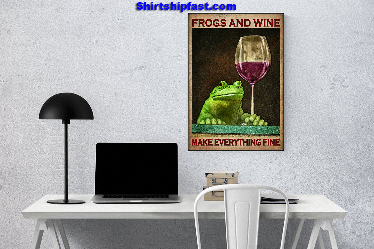 Frogs and wine make everything fine poster - Picture 3