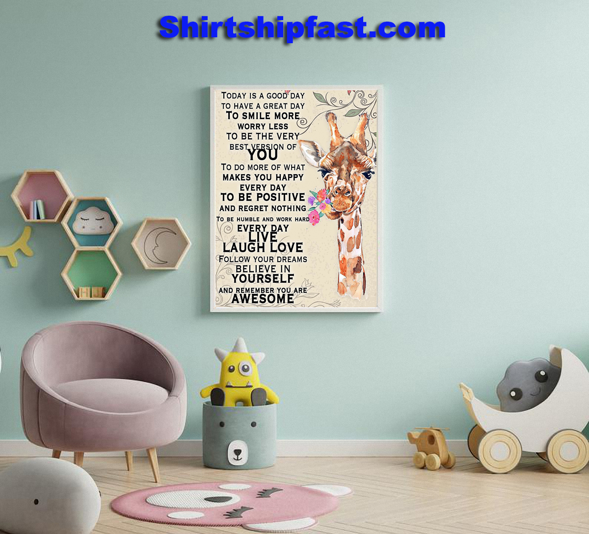 Giraffe today is a good day to have a great day poster - Picture 2