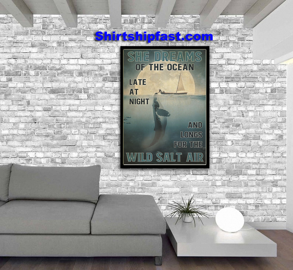 Girl and orca She dreams of the ocean poster - Picture 2
