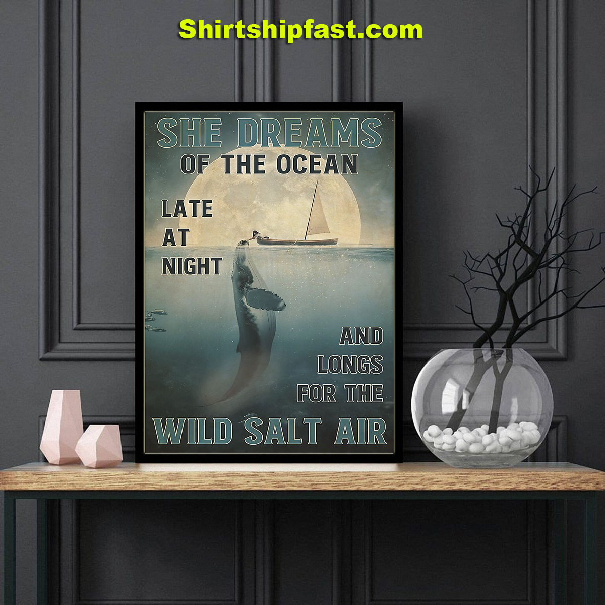 Girl and orca She dreams of the ocean poster - Picture 3