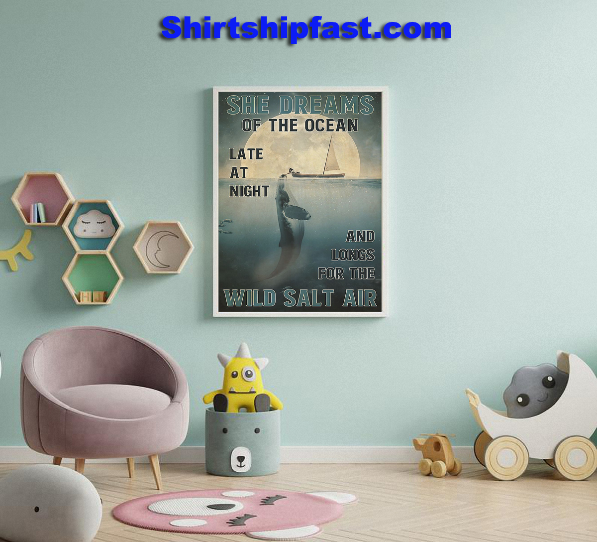 Girl and orca She dreams of the ocean poster