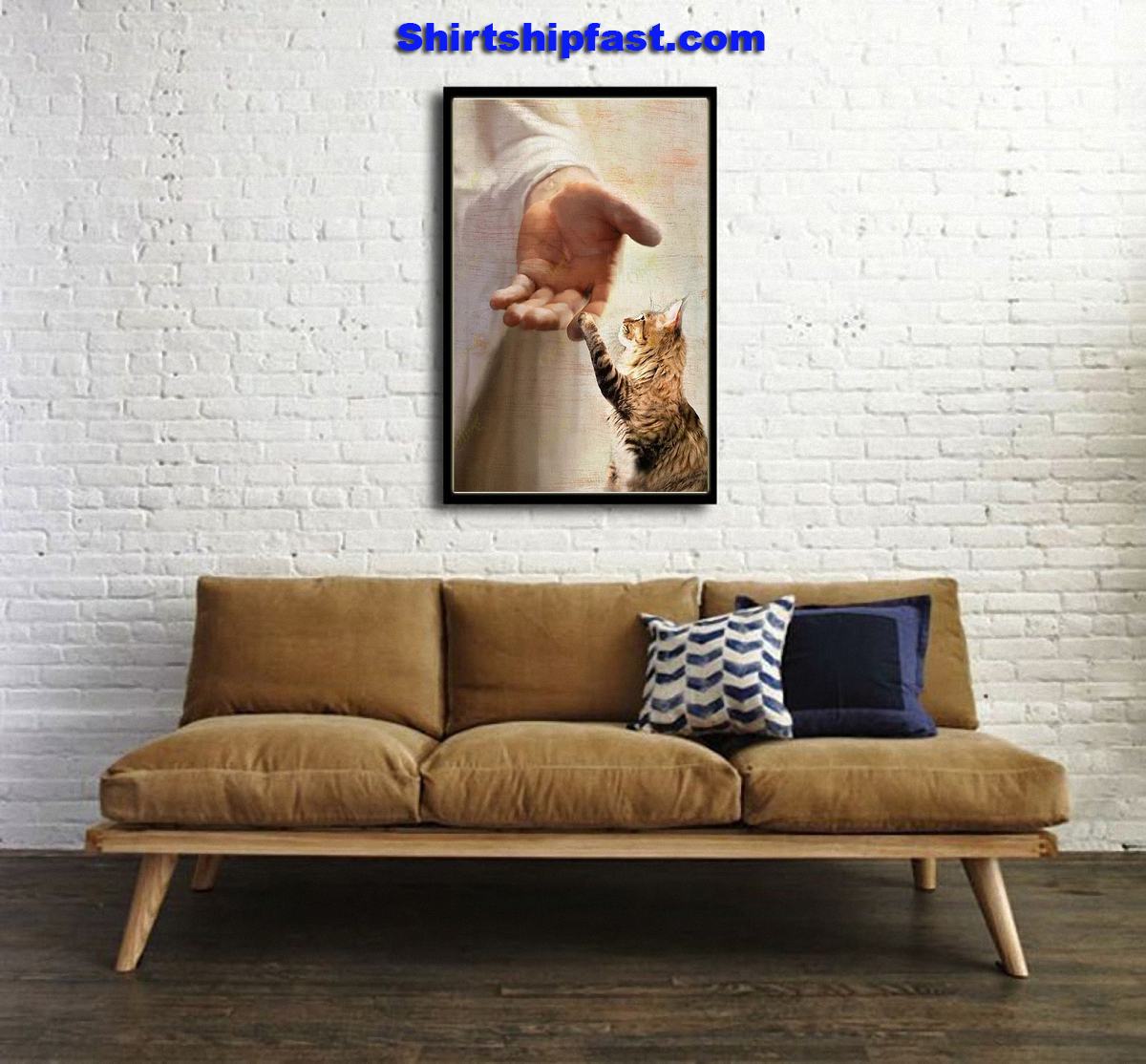 God jesus Maine Coon take my hand canvas - Picture 1