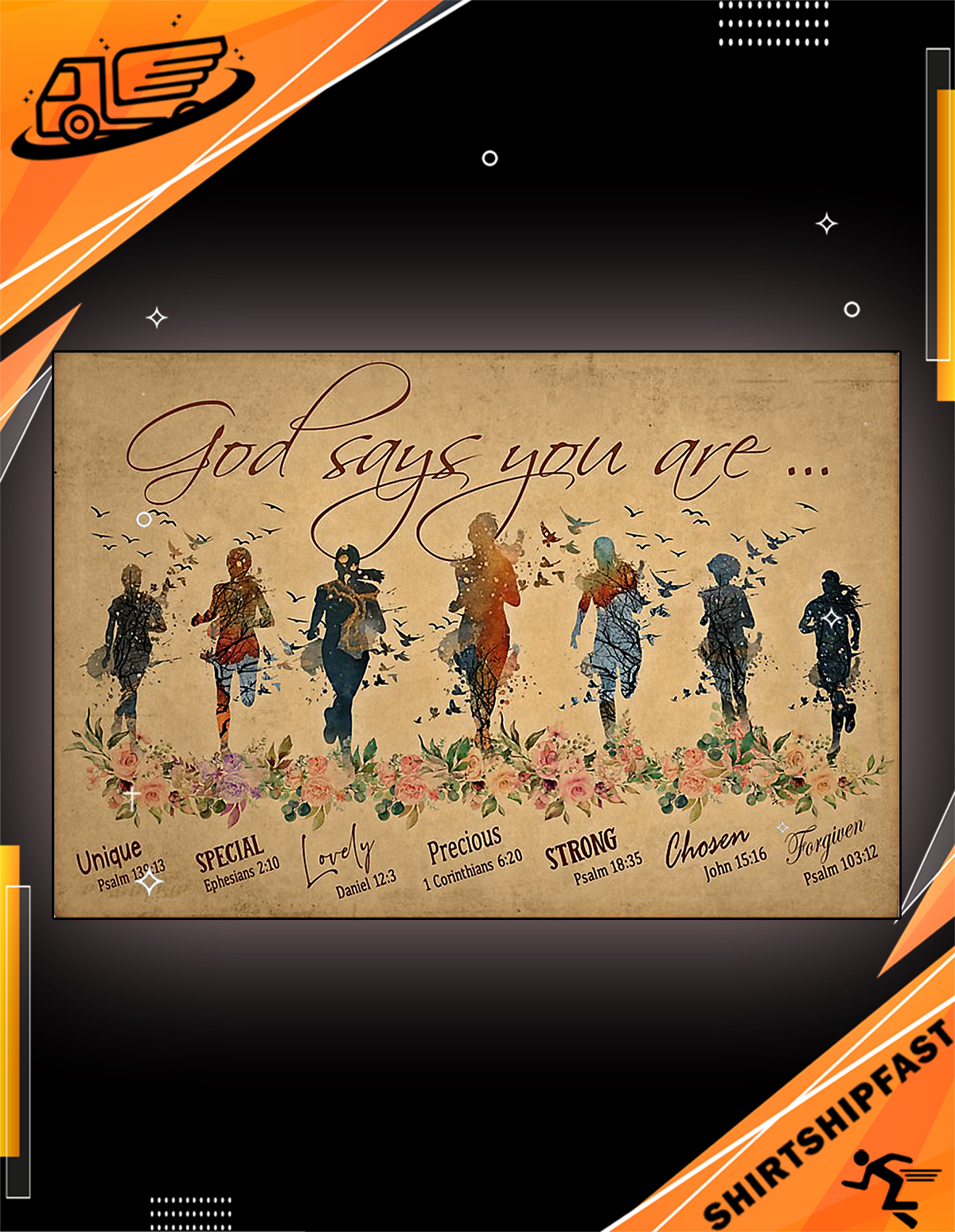 God says you are running woman poster - Picture 1