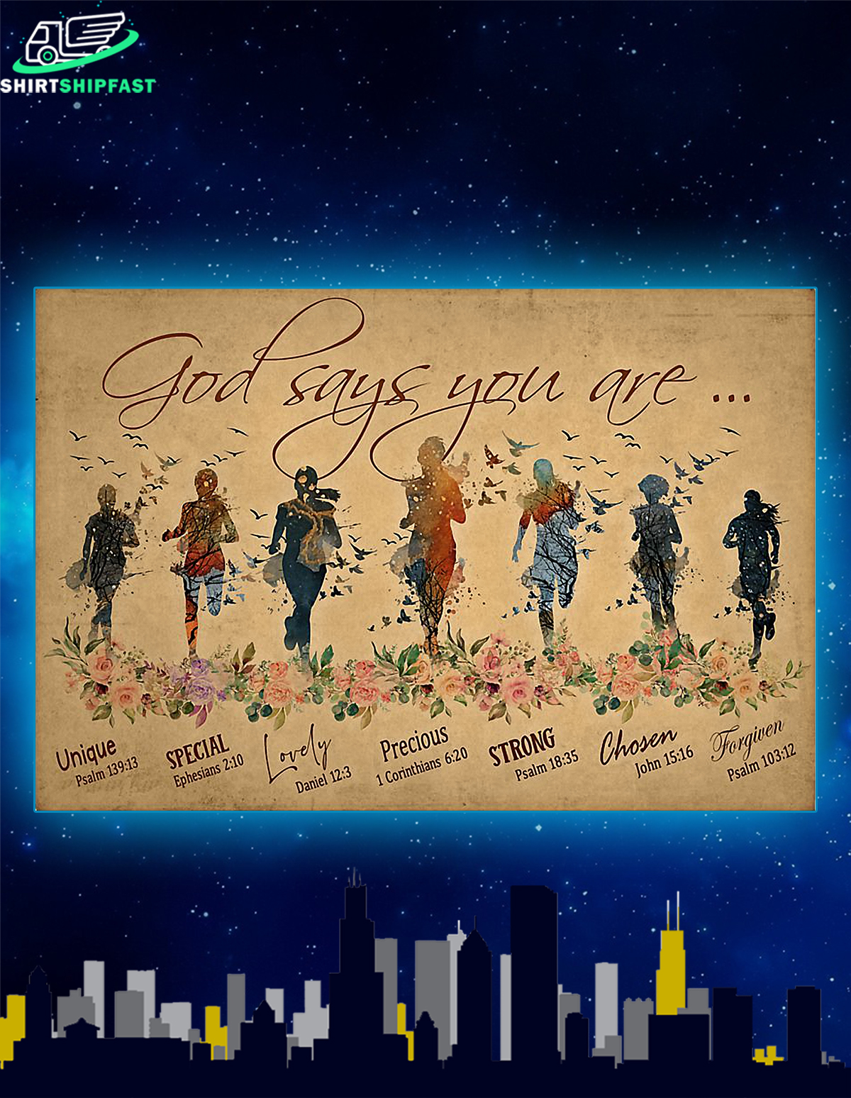 God says you are running woman poster