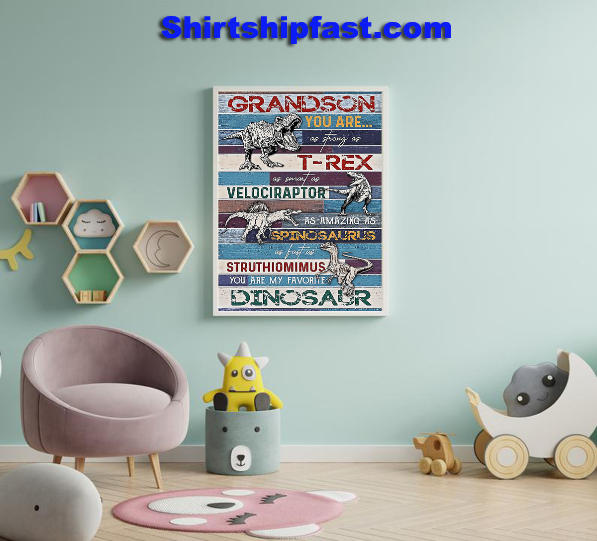 Grandson You are my favorite dinosaur poster - Picture 1
