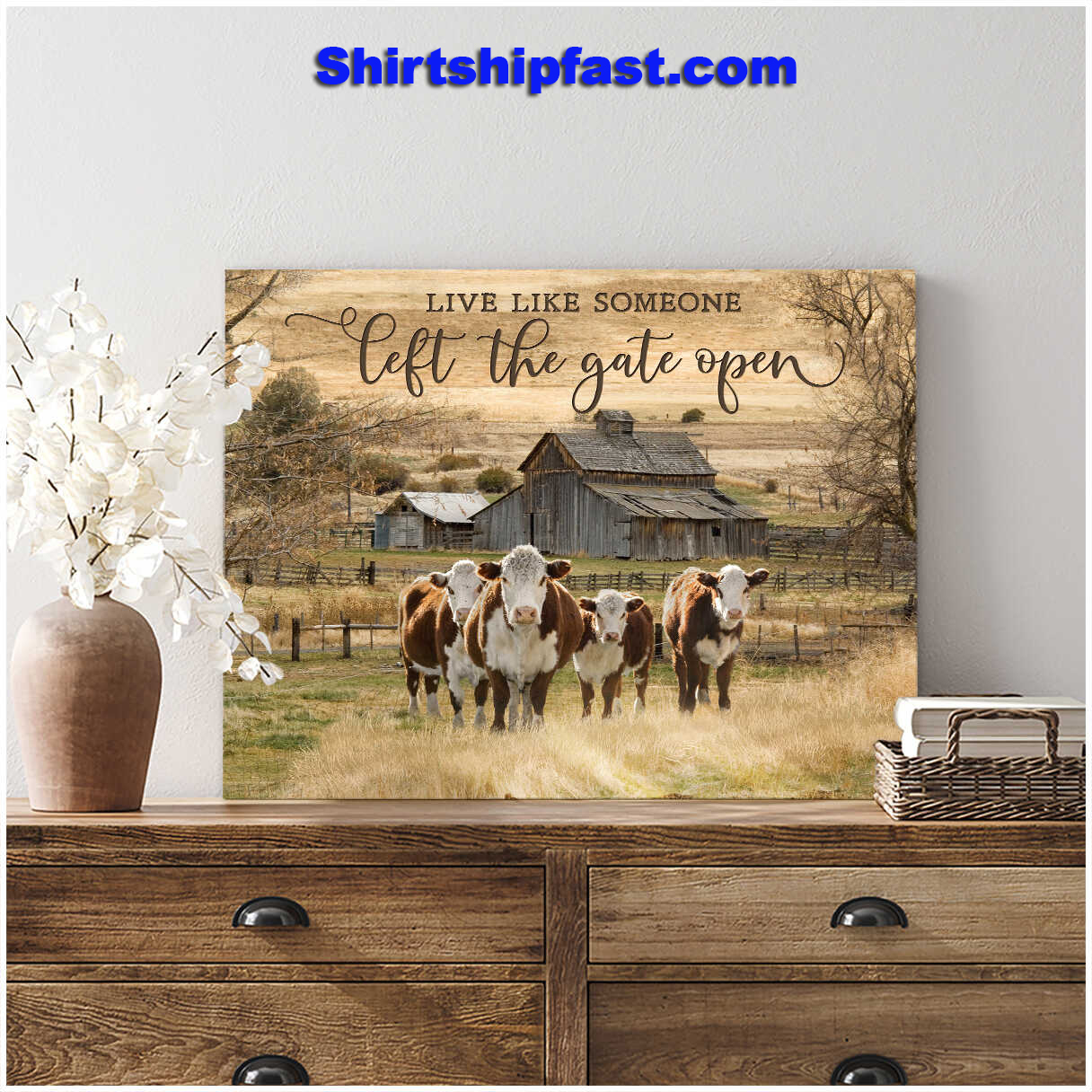 Hereford Cattle Cows live like someone left the gate open canvas