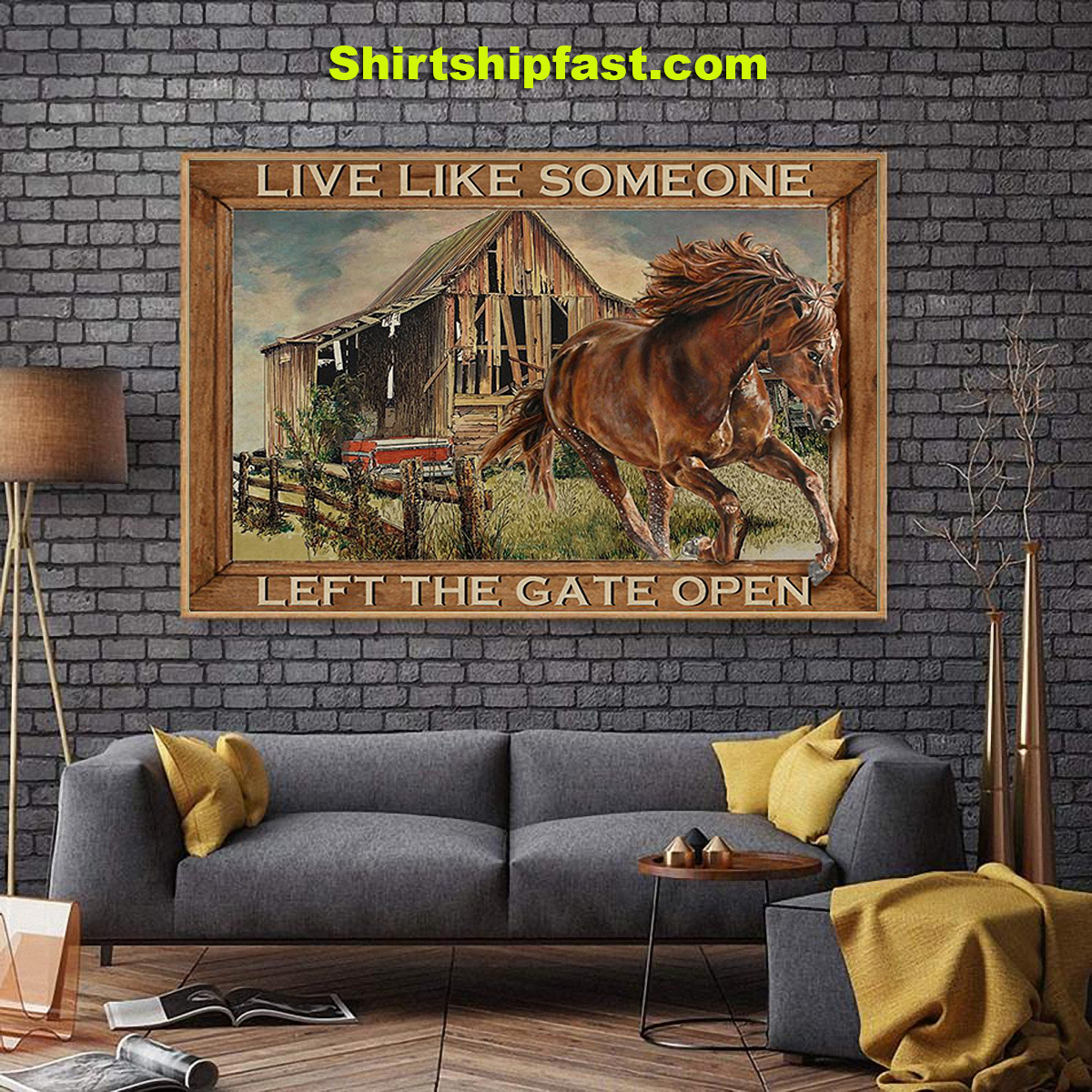 Horse running live like someone left the gate open poster - Picture 1