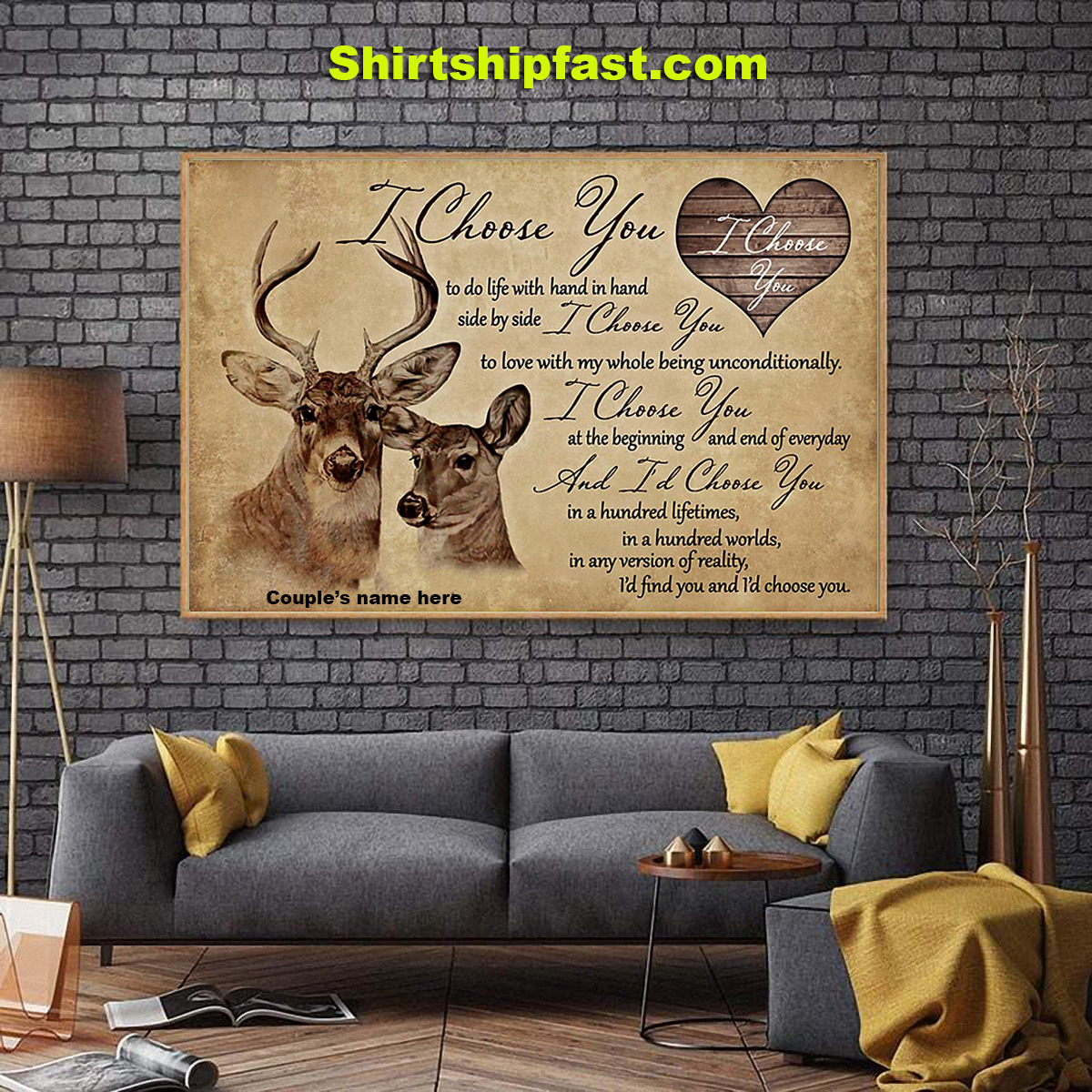 Hunting couple i choose you personalized canvas prints - Picture 1