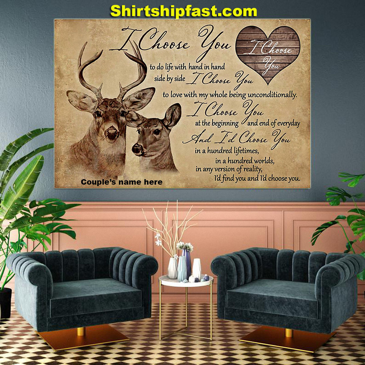 Hunting couple i choose you personalized canvas prints - Picture 2