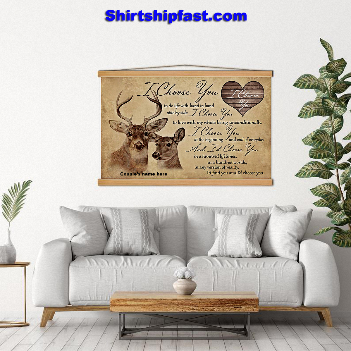 Hunting couple i choose you personalized canvas prints - Picture 3