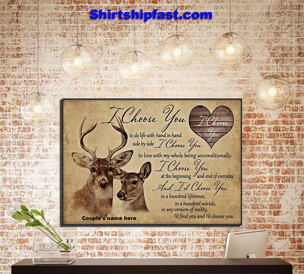 Hunting couple i choose you personalized canvas prints