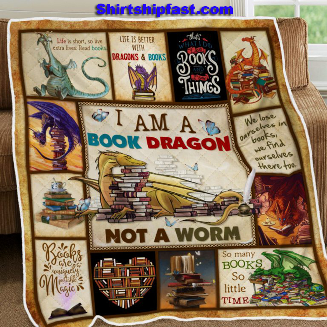 I am a book dragon not a worm quilt blanket