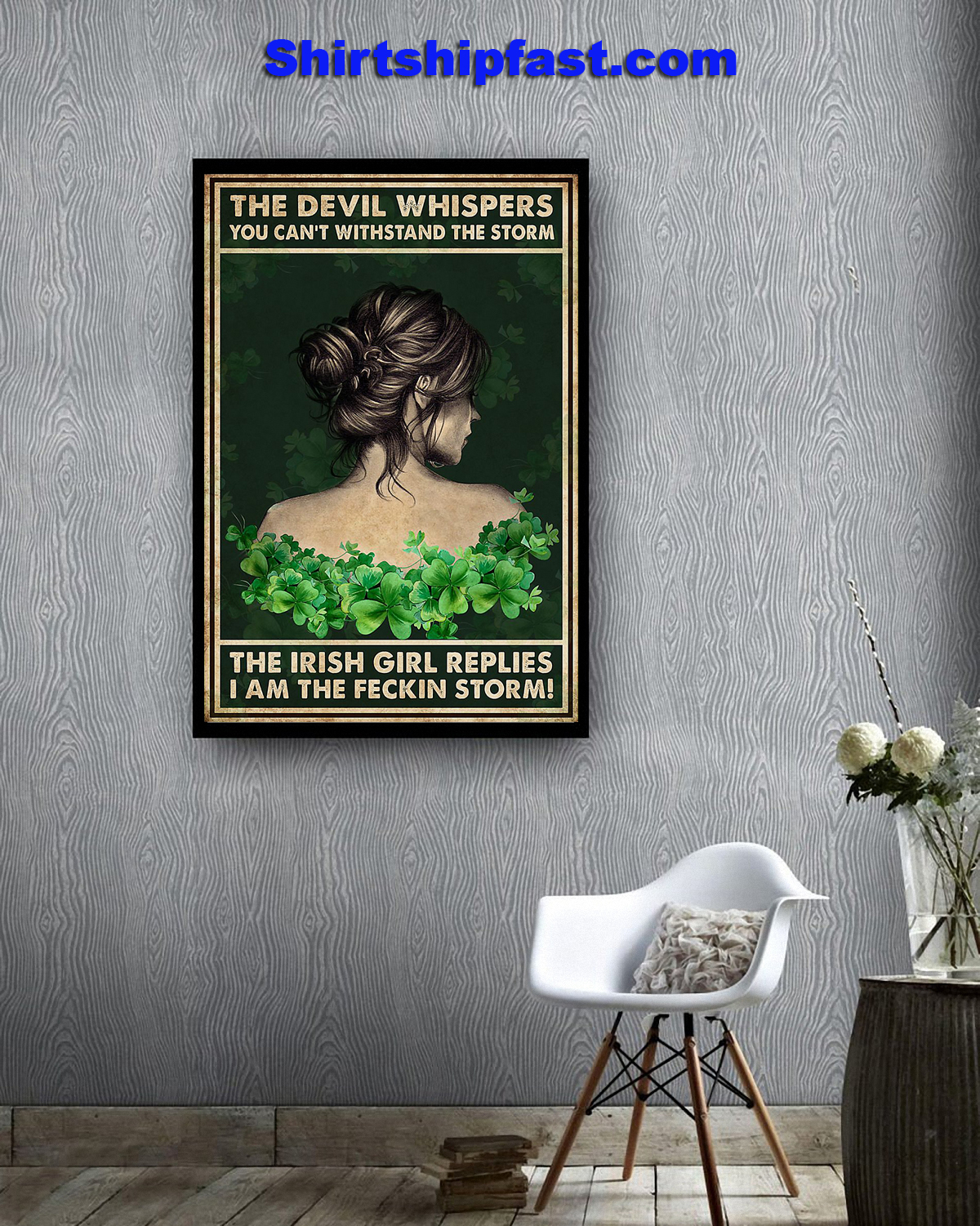 Irish girl The devil whispers you can't withstand the storm poster
