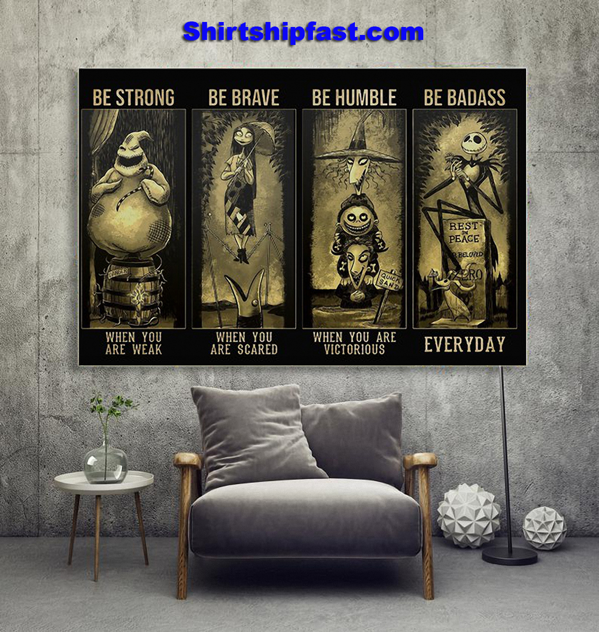 Jack and sally be strong be brave be humble be badass poster