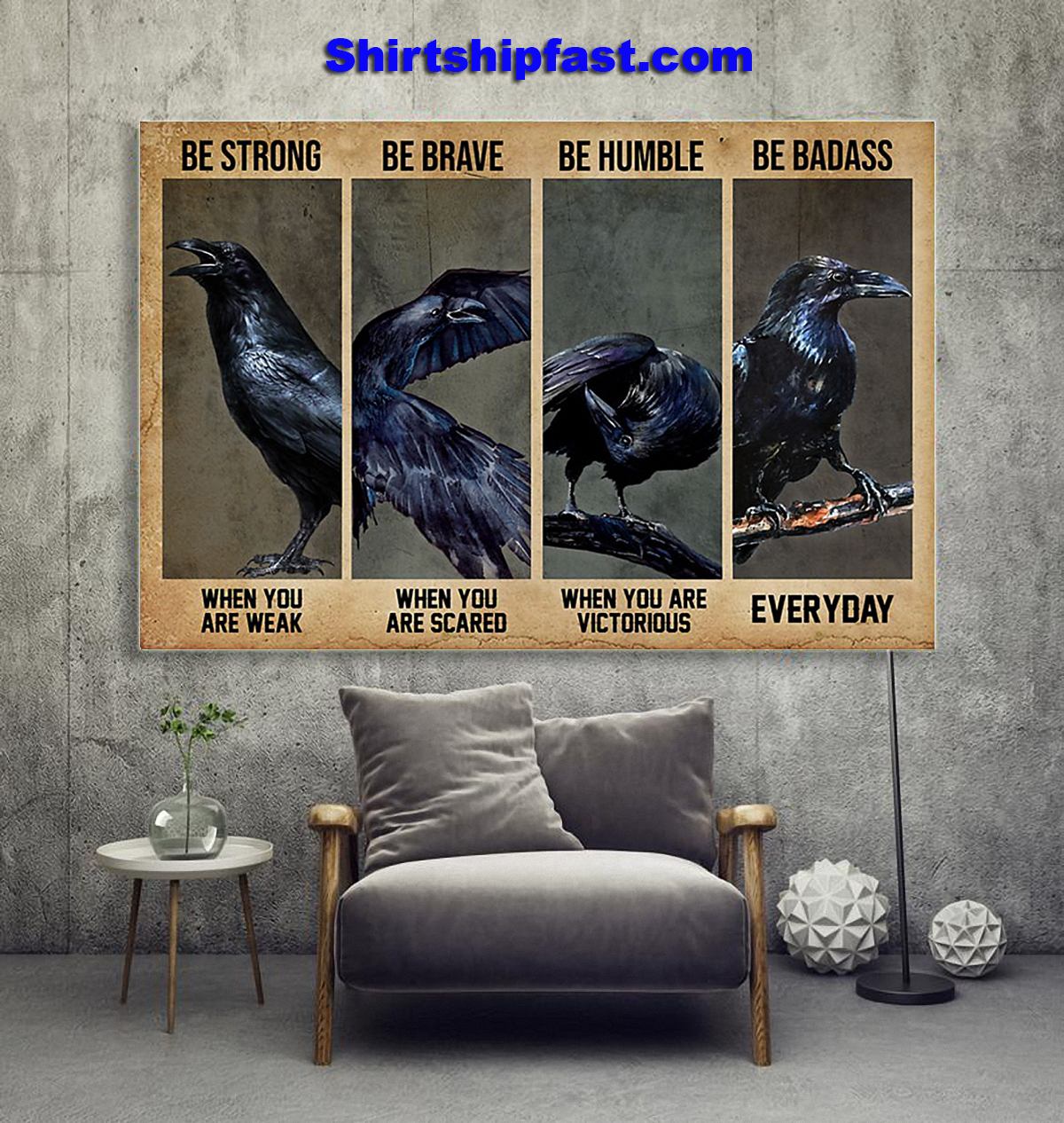 Jackdaw be strong be brave be humble be badass poster - Picture 1