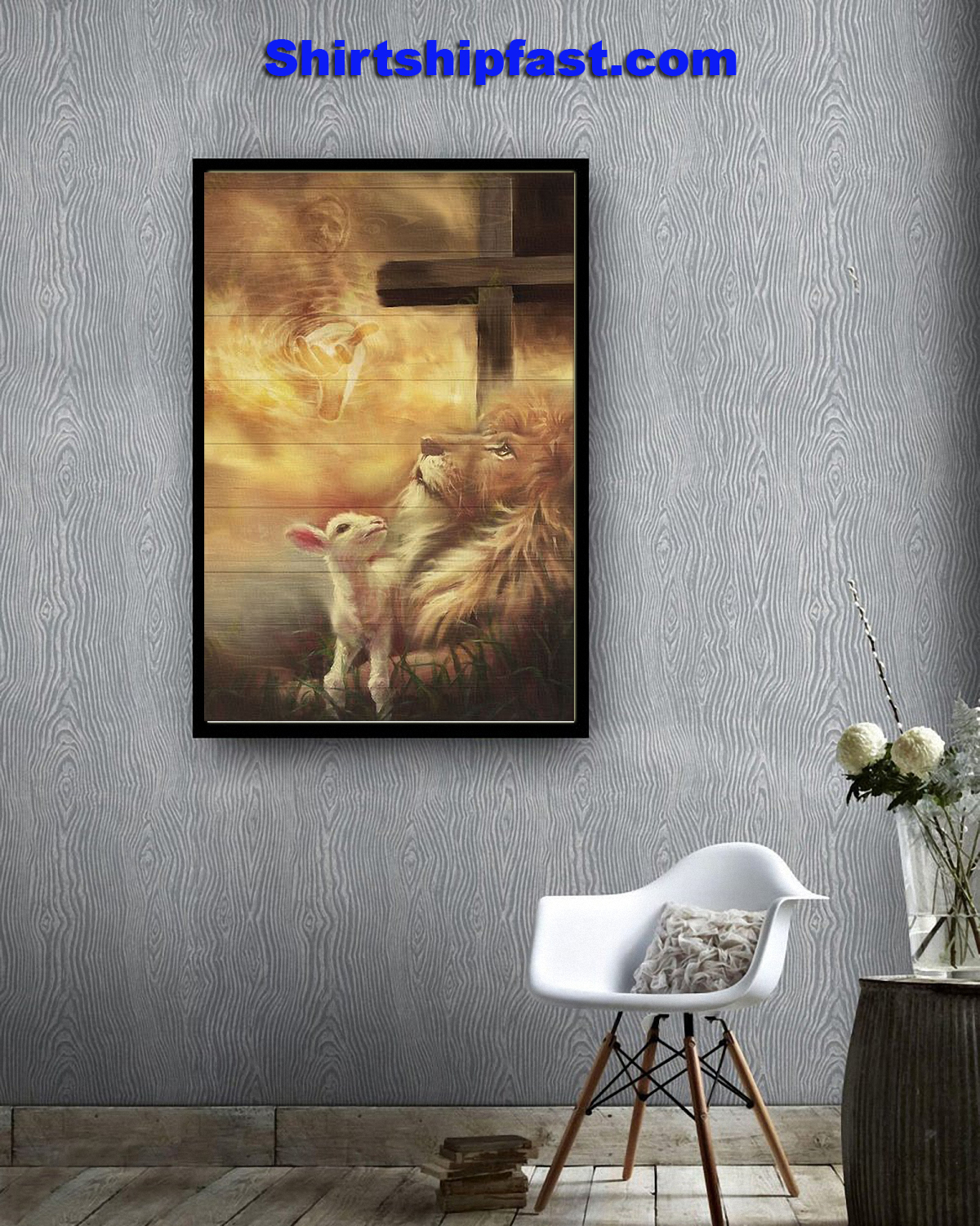 Jesus beautiful lion and lamb canvas - Picture 1