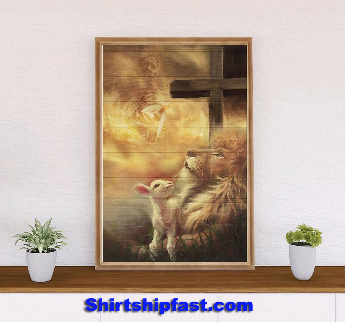 Jesus beautiful lion and lamb canvas - Picture 2