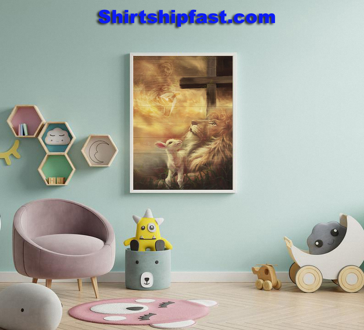 Jesus beautiful lion and lamb canvas - Picture 3