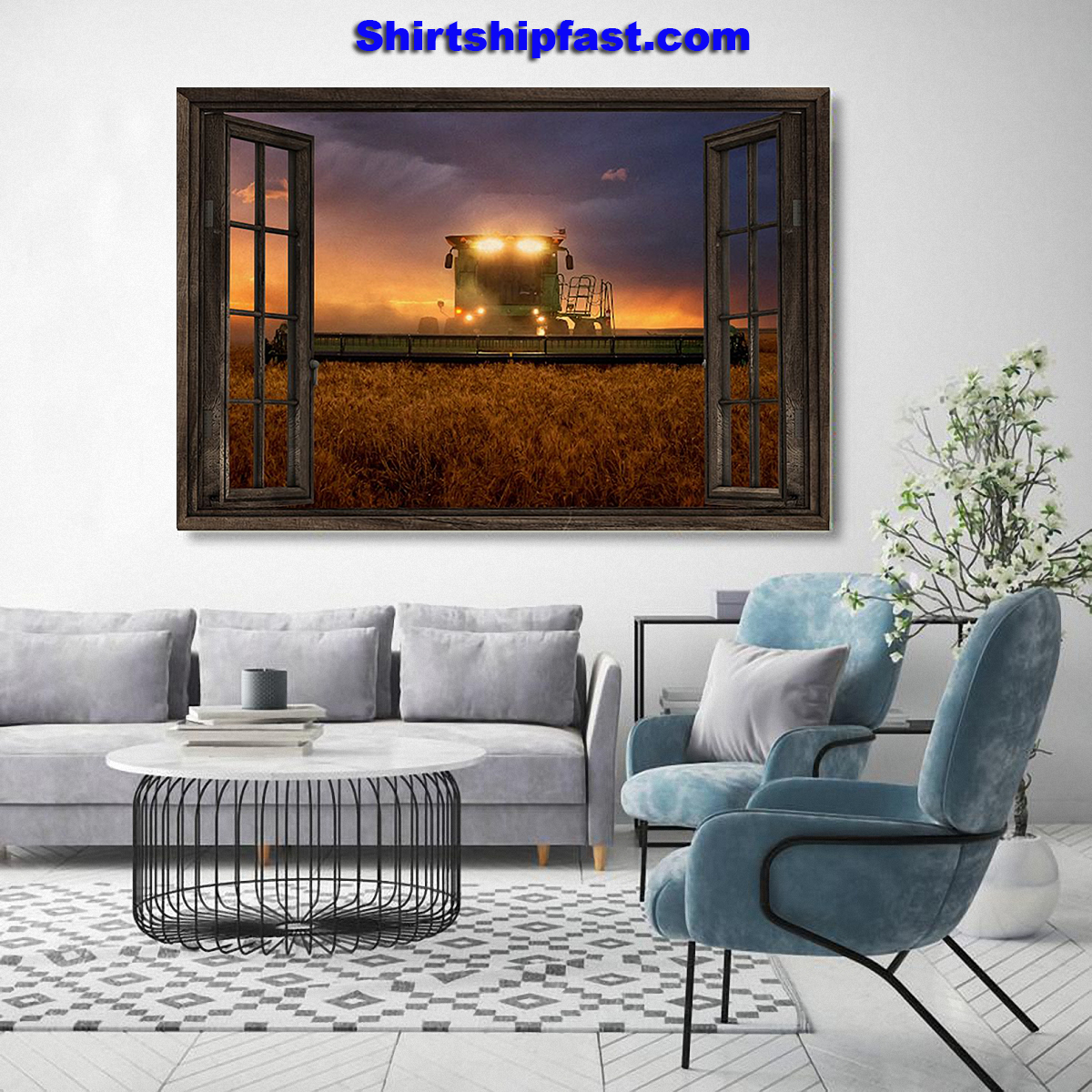John Deere tractor window view poster - Picture 2