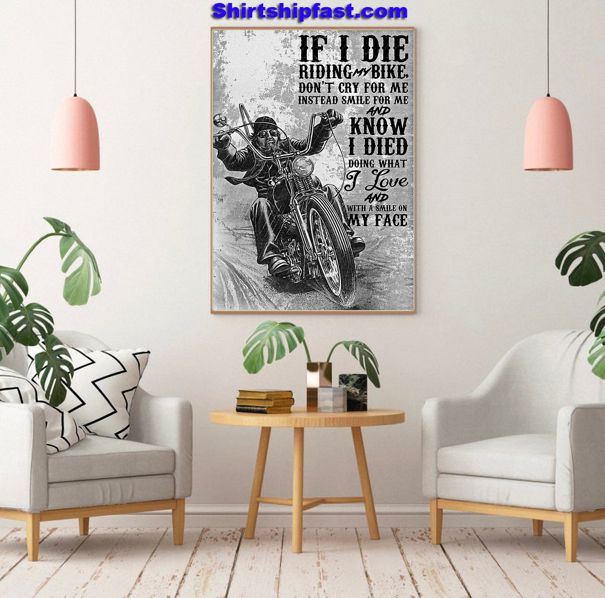 Motorcycle biker If I die riding bike don't cry for me instead smile for me poster - Picture 3