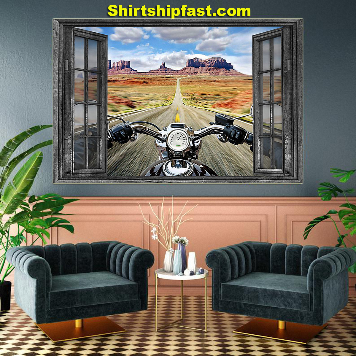 Motorcycle monument valley poster - Picture 3