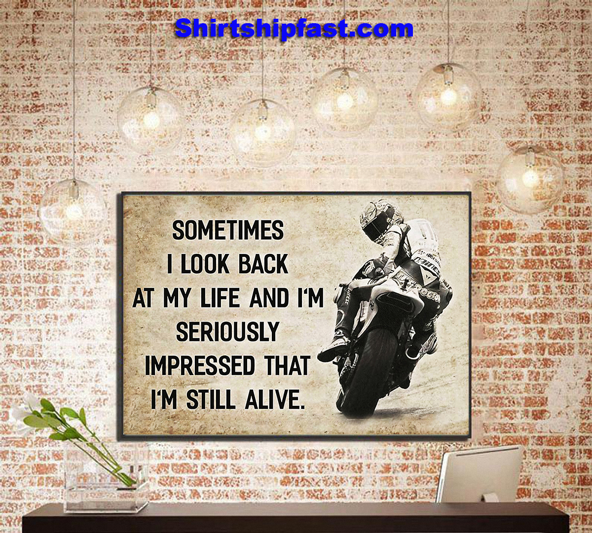 Motorcycle racing sometimes i look back at my life canvas - Picture 1