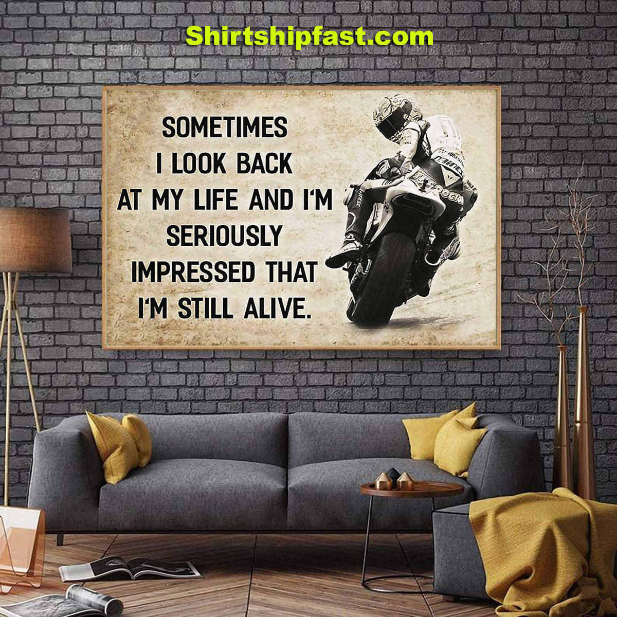 Motorcycle racing sometimes i look back at my life canvas - Picture 2