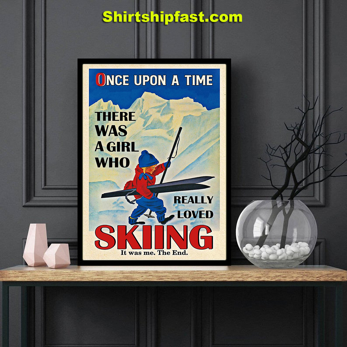 Once upon a time there was a girl who really loved skiing canvas - Picture 3