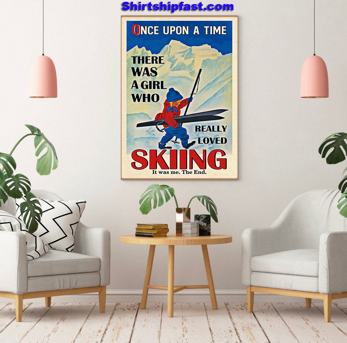 Once upon a time there was a girl who really loved skiing canvas