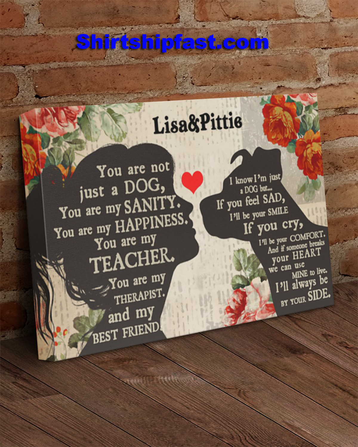 Personalized Pitbull girl therapist best friend canvas - Picture 1