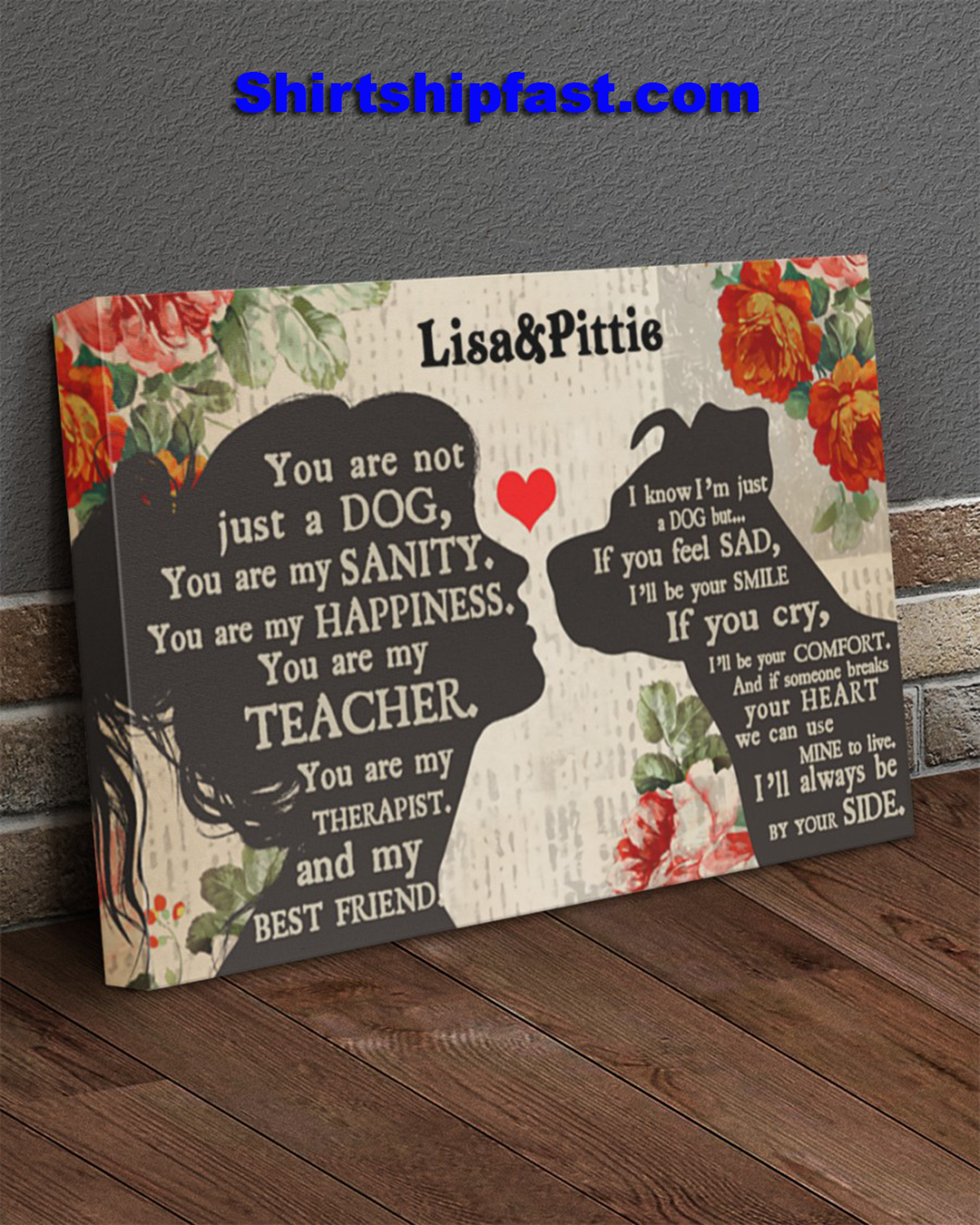Personalized Pitbull girl therapist best friend canvas - Picture 2