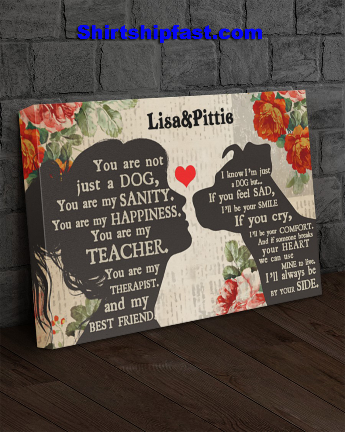 Personalized Pitbull girl therapist best friend canvas - Picture 3