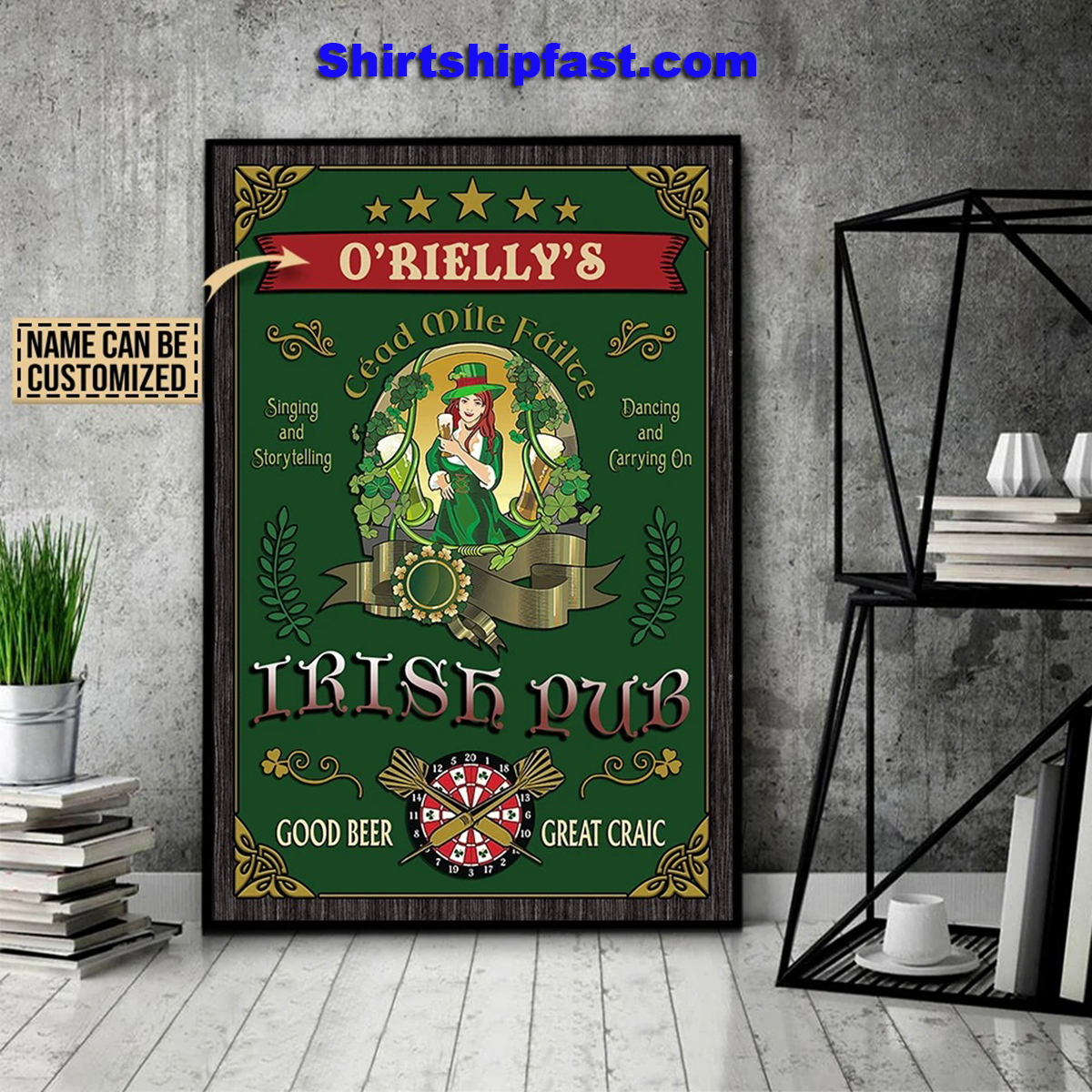 Personalized beer girl irish pub good beer great craic poster - Picture 1