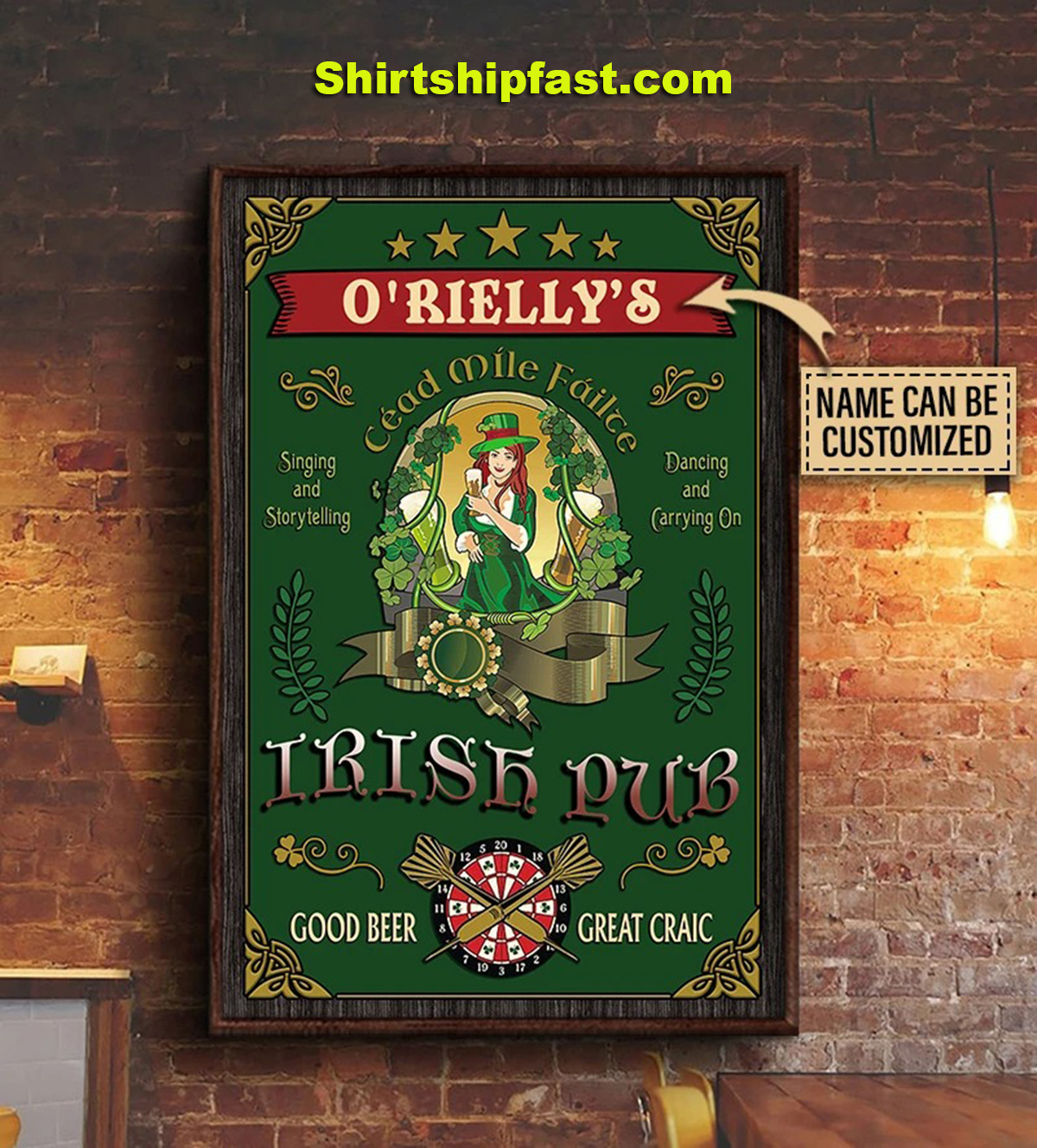 Personalized beer girl irish pub good beer great craic poster - Picture 2