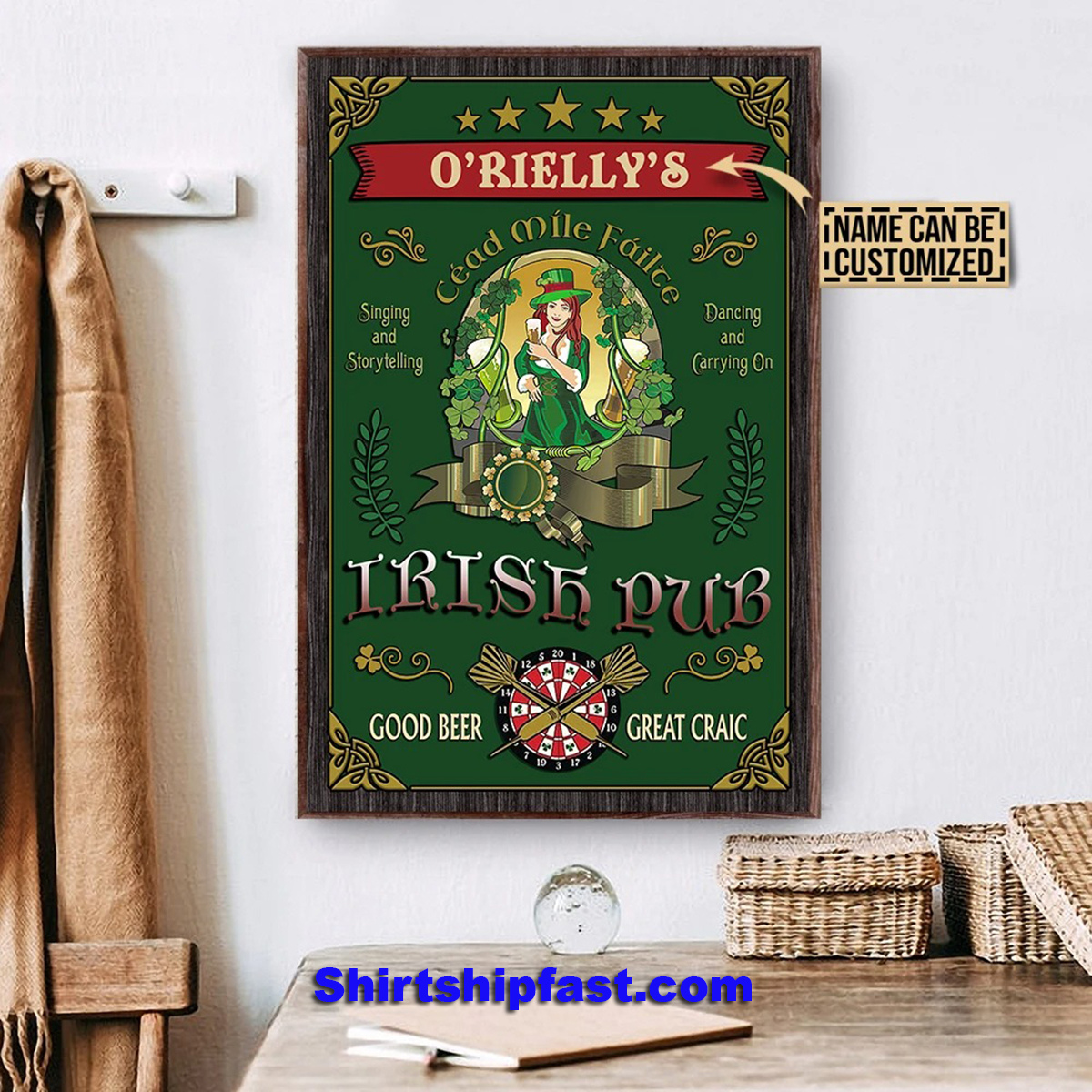 Personalized beer girl irish pub good beer great craic poster - Picture 3