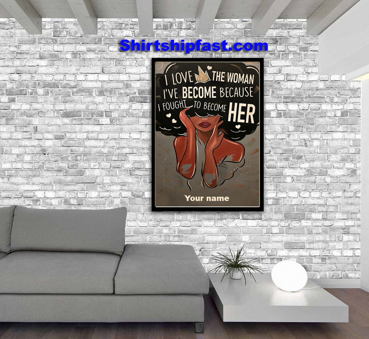 Personalized custom name Black I love the woman I've become poster - Picture 1