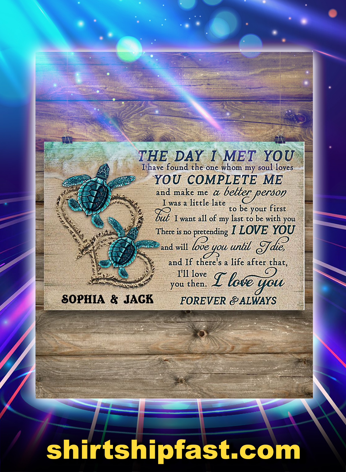 Personalized sea turtle the day i met you poster - Picture 1