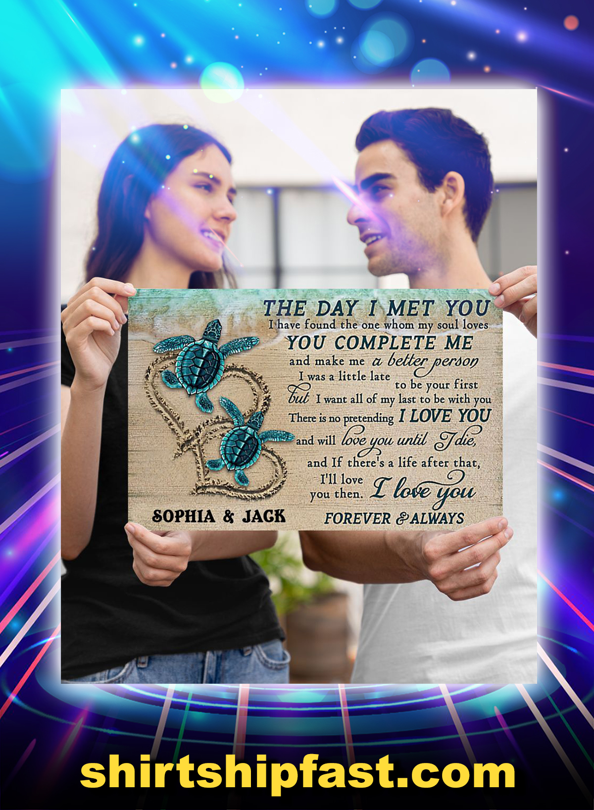 Personalized sea turtle the day i met you poster - Picture 2
